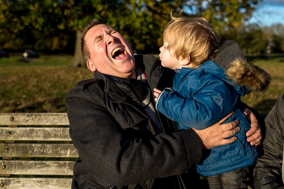 dad and son laughing, Hertfordshire family photographer, st albans family photographer