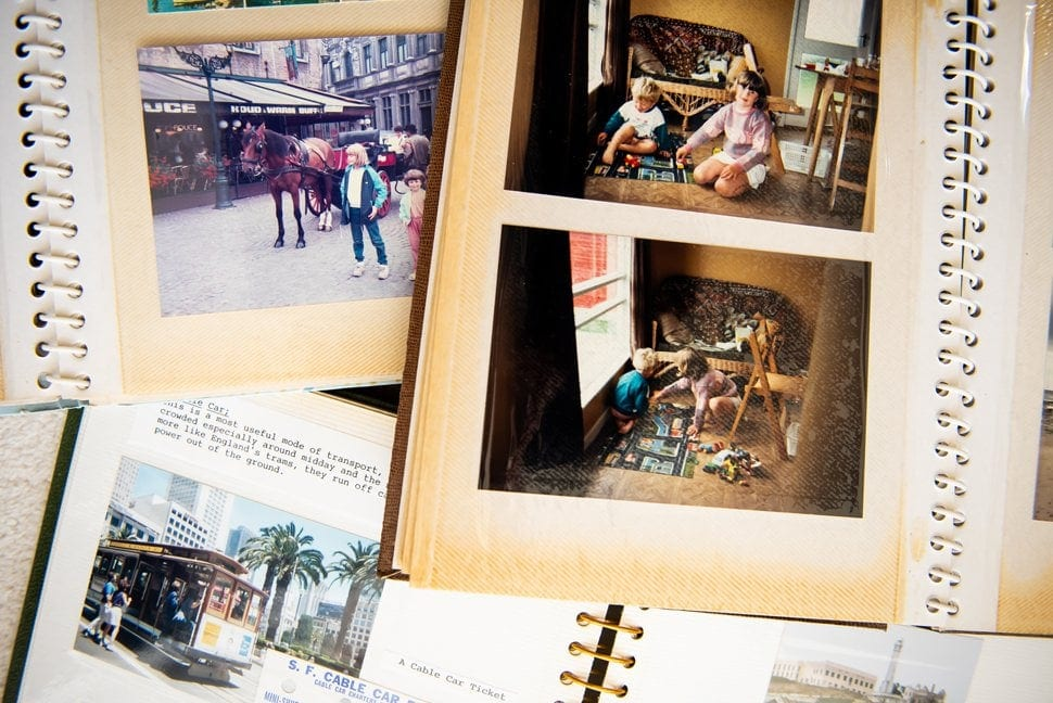 old fashioned sticky photo album
