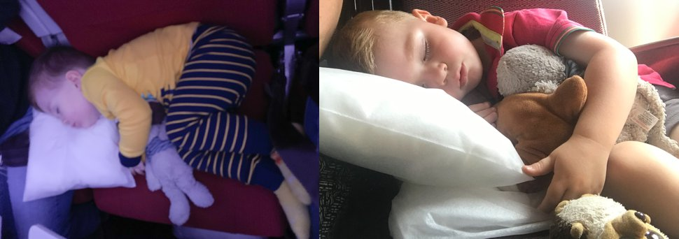 napping kids on planes
