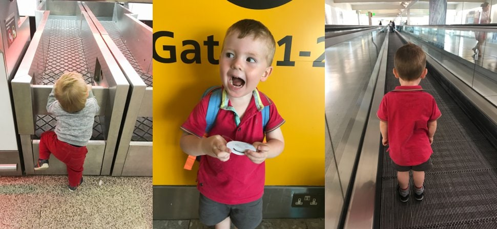 happy kid in an airport travelling with children