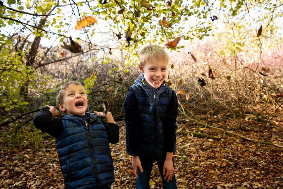 brothers playing with autumn leaves
