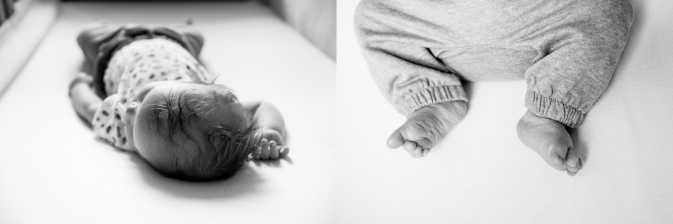 newborn baby top of head and tiny toes