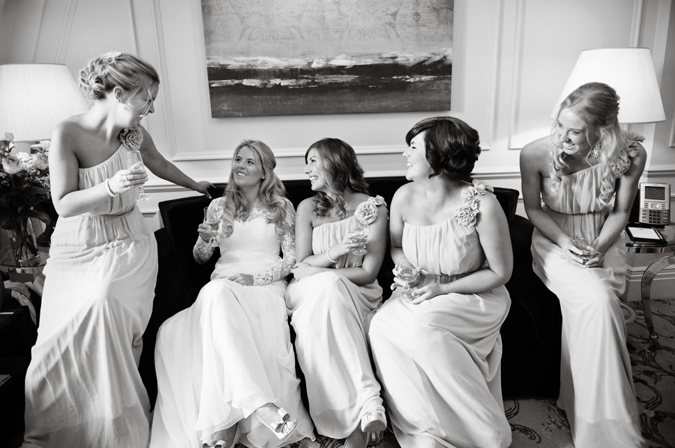 bride getting ready with bridesmaids in St Albans