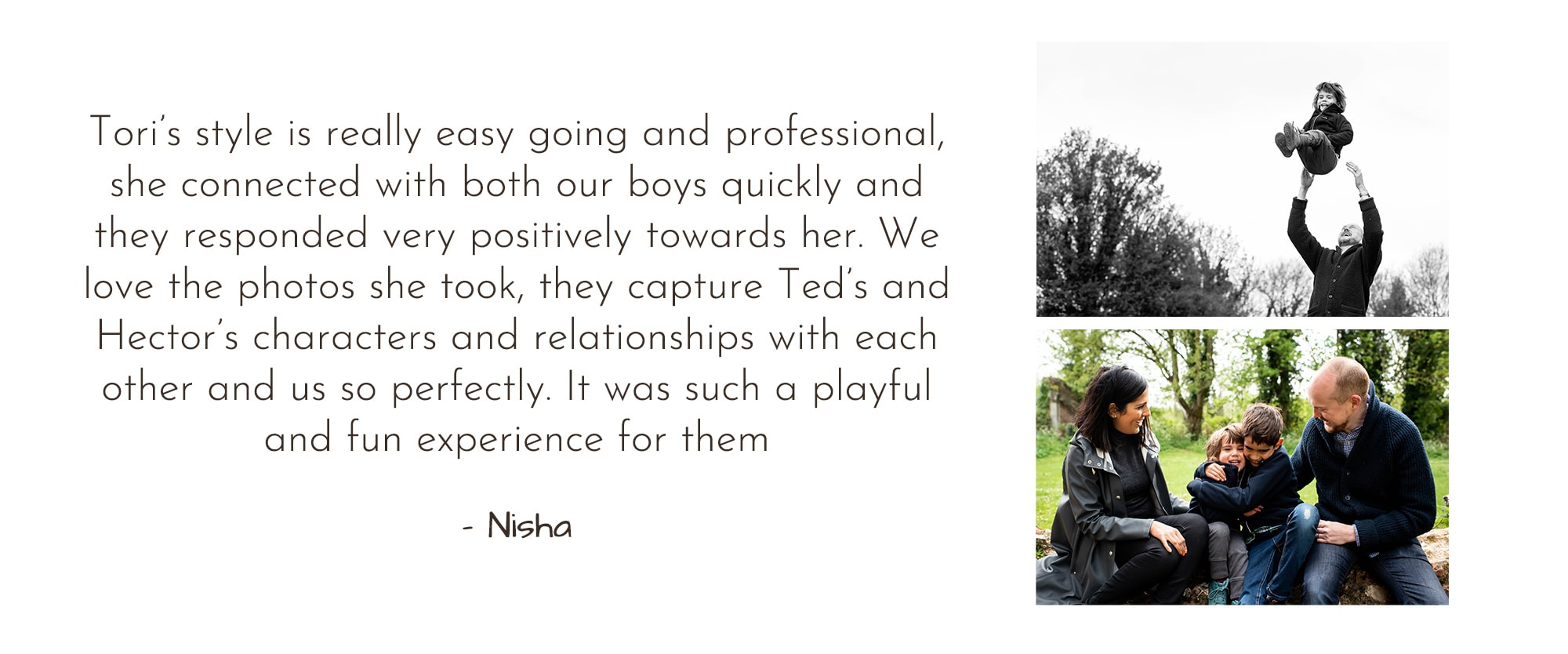 hertfordshire family photographer testimonial