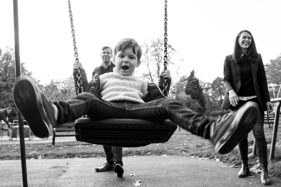 fun family time on swings in Clarence Park St Albans
